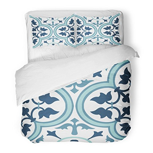 SanChic Duvet Cover Set Colorful Moroccan Vintage Flower Floral Pattern Abstract Royal Geometric Spain Decorative Bedding Set 2 Pillow Shams King Size by SanChic
