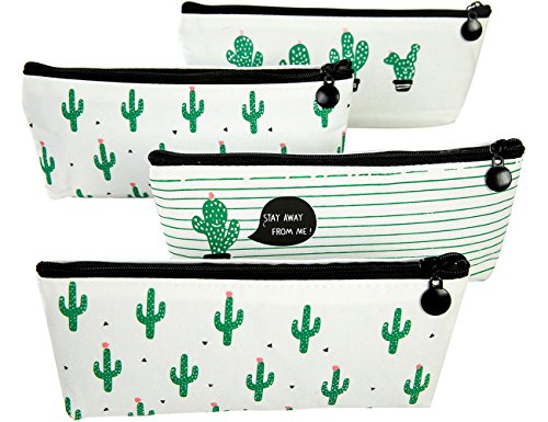 iSuperb Set of 4 Canvas Cute Cactus Pencil Case Pencil Bag Holder School Stationery Pouch Bag Case Zipper Makeup Cosmetic Bag 8.07x3.74inch (Cactus)