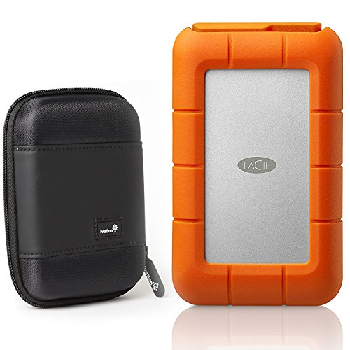 LaCie Rugged RAID, Thunderbolt and USB 3.0 4TB Portable Hard Drive STFA4000400 and Ivation Compact Portable Hard Drive Case (Large)