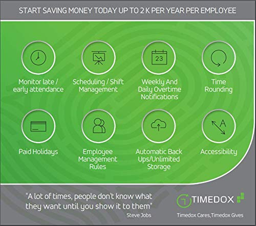 Timedox Silver Plus | Biometric Fingerprint Time Clocks for Employees | $0  Monthly fees | Data Download Automatically | Access Report Using Browser