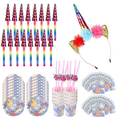 Complete Unicorn Party Supplies Serve 16 - Bonus Glittery Handmade Unicorn Headband for Birthday Girl, 16 Pcs Handmade Plush Unicorn Horns, Paper Plates, Napkins, Cups, Straws, Ultimate 81 Pcs Set]()