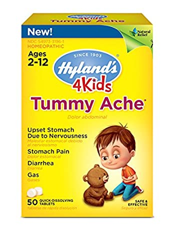 Hyland's 4 Kids Tummy Ache Tablets, Natural Relief of Upset Stomach,  Diarrhea and Gas