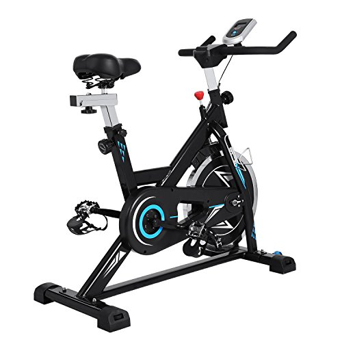 evokem Indoor Exercise Fitness Cycle Bike Cycling Trainer Spin Bike Belt Resistance with LCD Screen