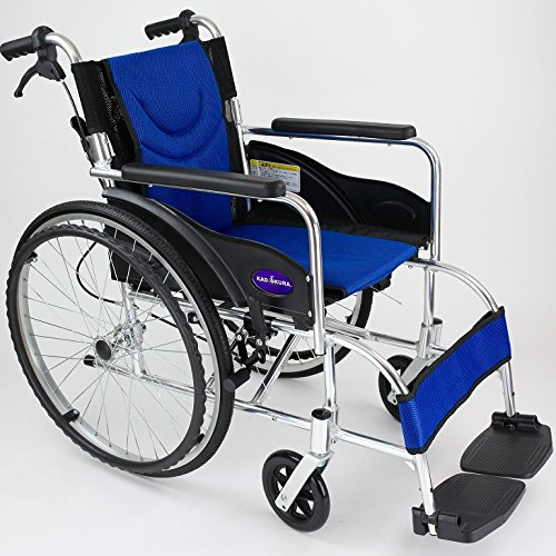 自走用車いす 車イス 車椅子 「ZEN-禅-ライト」(ブルー) 軽量 コンパクト 背折れ 折りたたみ ノーパンクタイヤ メーカー保証1年付き カドクラ G201-BL (ブルーー) B06Y668M5V グレー グレー