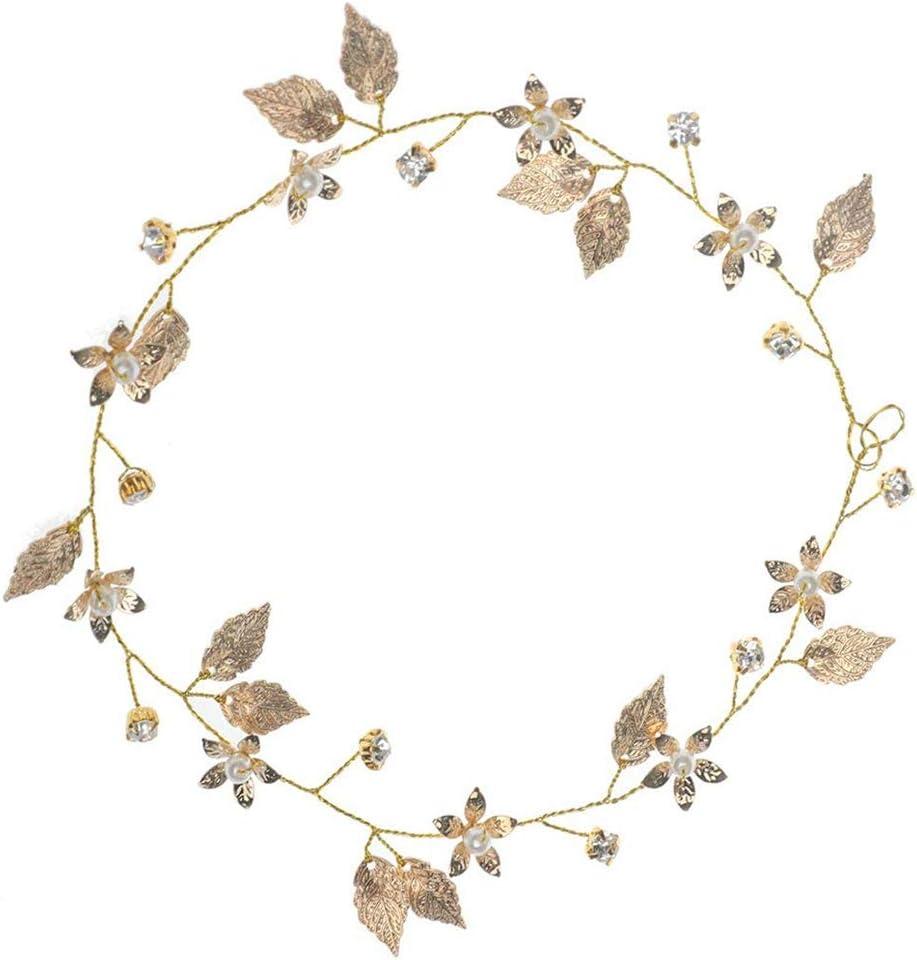 Elegante diadema nupcial para bodas Hojas de oro Tocados para la cabeza Accesorios para el cabello para la boda Decoración del cabello