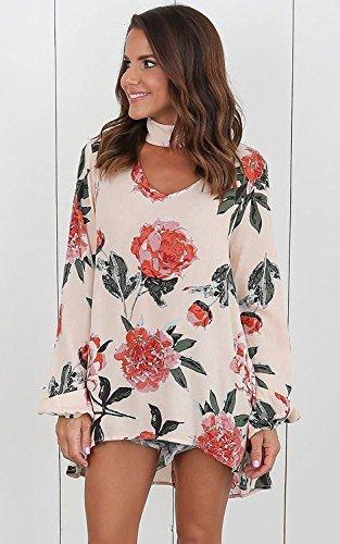 Blouse T Imprim Mode Chemise Shirt Casual Cou Tomwell Longues Fleur Choker Manches Tops Chemisiers V Beige Femmes n600OAq7F