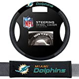 Fremont Die Miami Dolphins NFL Steering Wheel Cover and Seatbelt Pad Auto Deluxe Kit