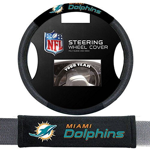 Fremont Die Miami Dolphins NFL Steering Wheel Cover and Seatbelt Pad Auto Deluxe Kit by Fremont Die