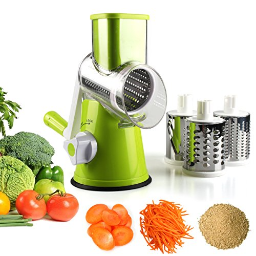 Vegetable Mandoline Slicer, Zacfton Vegetable Fruit Cutter Cheese Shredder  Rotary Drum Grater with 3 Stainless Steel Rotary Blades and Suction Cup