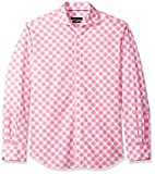 Bugatchi Men's Long Sleeve Tapered Fit Printed Cotton Spread Collar Shirt, Pink, M