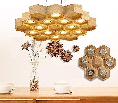 Arturesthome Solid Wood Hardwired Pedant Led Honeycomb Chandelier, Living Room Lobby Villa Light