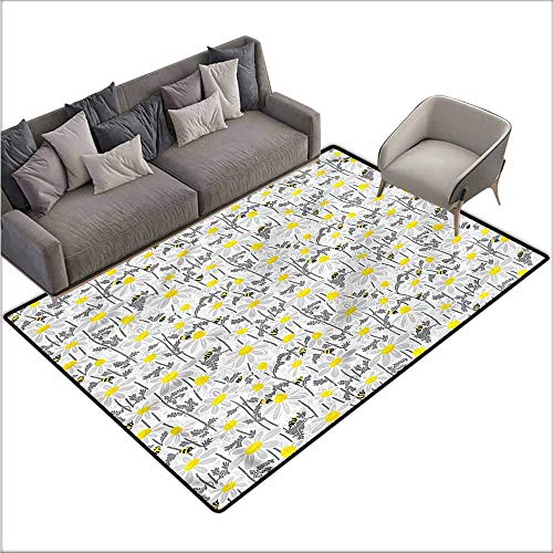 Office Chair Floor Mat Foot Pad Yellow,Bees Chamomile Meadow 36