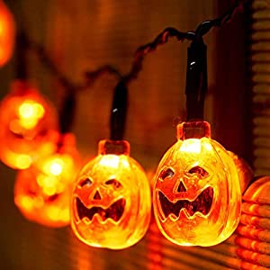Choklin Pumpkin Halloween Lights String, 9.51ft – 20 LED – Battery Powered – Halloween Decoration Lights for Indoor & Outdoor, Orange (Not Include Battery)