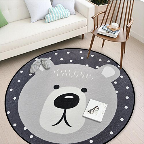 Round Area Rug, Living Room Carpet Bedroom Rug Super Soft Anti-Slip Cartoon Animal Baby Floor Mat for Kids Children Girls Room Decorator, 3.28 Feet (Bear)