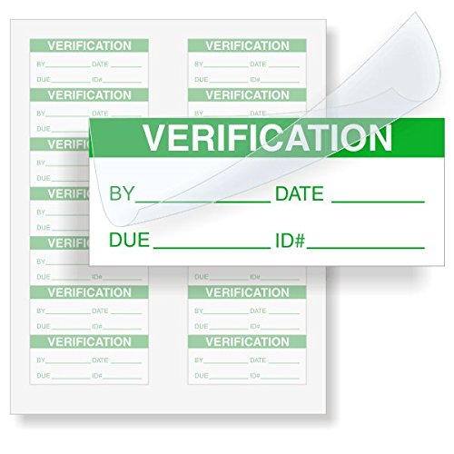 VERIFICATION, Polyester with Clear Flap Tag, 140 Labels/Pack, 1.5'' x 0.625'' by QCLabels
