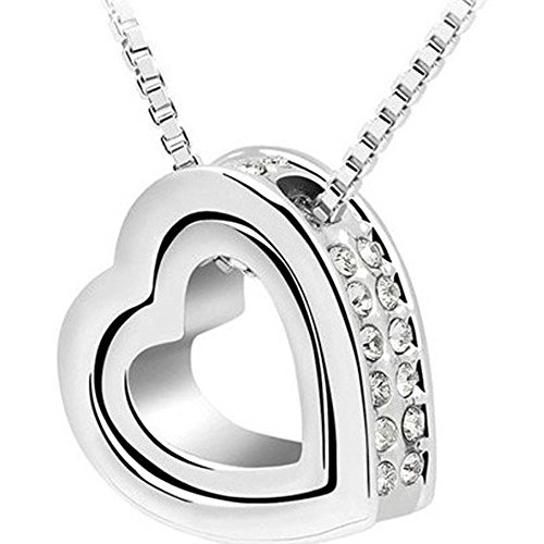 Changeshopping(TM) Fashion Double Heart Crystal Rhinestone Eternal Love Silver Necklace (White)