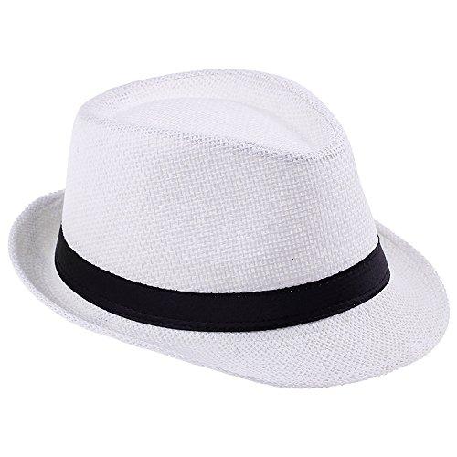 [Elee Unisex Kids Straw Trilby Fedora Cap Jazz Hat Short Brim Sunat (#1 White)] (Fedora Gangster Hat)