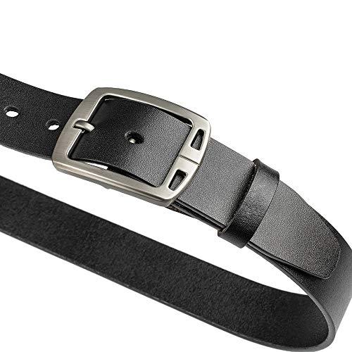 "Waistline Leather - Mancala Leather Belt for Men, Black Genuine Leather with Scratch - Resistant Alloy Buckle (48""(120 cm)—Waistline 37.00""~39.37"")"