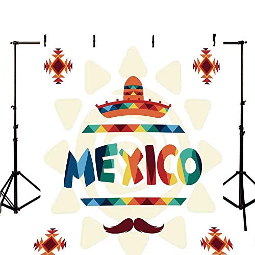 "Mexican Decorations Stylish Backdrop,Mexico Traditional Aztec Motifs and Sombrero Straw Hat Moustache Graphic for Photography,39.3"" W x 59"" H"