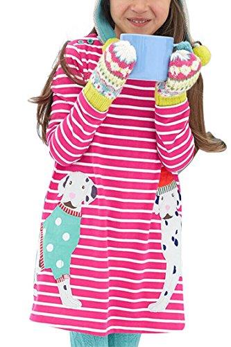 blau-grun-girls-crewneck-long-sleeve-casual-cute-cartoon-patchwork-striped-dress