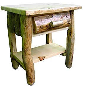 Midwest Log Furniture - Rustic Log Nightstand w/Shelf