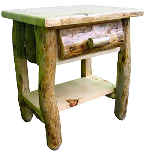 Midwest Log Furniture - Rustic Log Nightstand w/Shelf