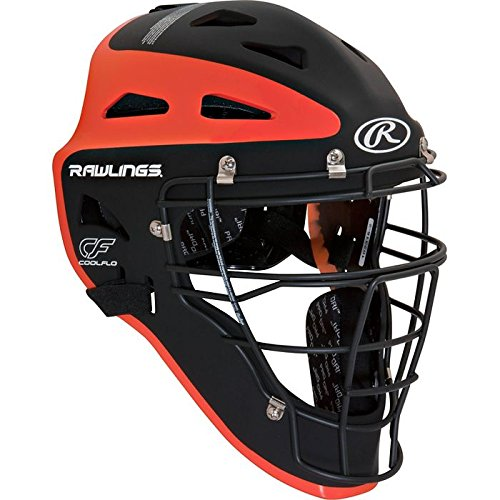 Rawlings Sporting Goods Youth Velo Series Catchers Helmet, Black/Orange, 6 1/2-7