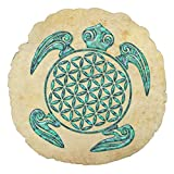 Flower Of Life Blume Des Lebens Turtle Turquoise Small Round Pillows for Chairs Nursery Pillow Decorative Baby Boy Room