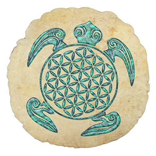Flower Of Life Blume Des Lebens Turtle Turquoise Small Round Pillows for Chairs Nursery Pillow Decorative Baby Boy Room ()