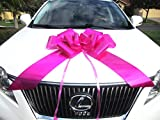 Weebumz Giant Bows For Car - Big Bow For A Huge Gift. Large Ribbon Pull-Bows Make An Outdoor Decoration, & Are Decorative For Valentines Day Presents - 23-Inch, Pink