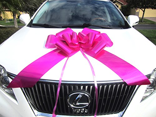 Weebumz Giant Bows for Car - Big Bow for A Huge Gift. Large Ribbon Pull-Bows Make an Outdoor Decoration, are Decorative for Valentines Day Presents - 23-Inch, Pink -
