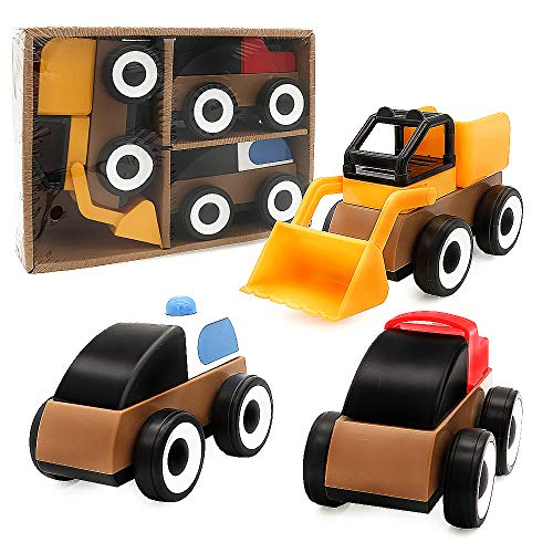 Construction Sliding Toy Cars, Abeyc Colorful Cartoon Block Vehicles for 3-6 Year Old Baby Toddlers - Building Bricks DIY Assembling Engineering Trucks Car Infants Educational Kids Toys - Set of 3