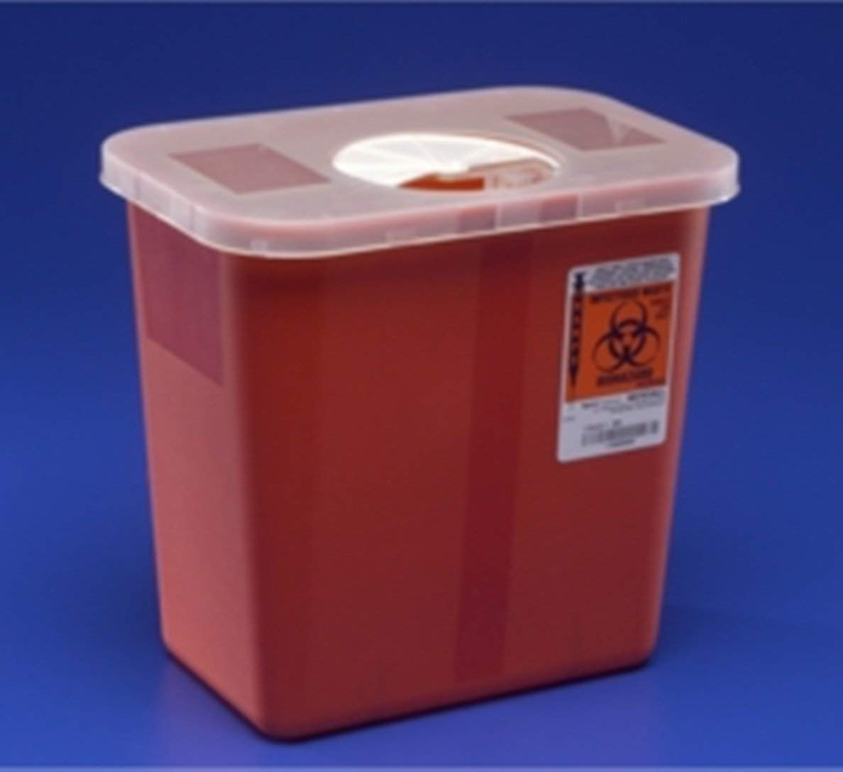 Image of Kendall 8970 Sharps Disposal Biohazard Waste Container with Rotor Lid, 2 Gallon Capacity, 10.5' Width x 10' Height x 7.25' Depth, Red Base (Case of 20) Biohazard Waste Disposal Bags