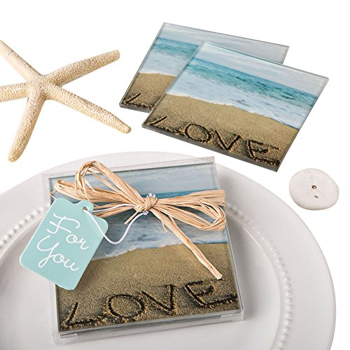 (Glass Beach Coasters Decor For Drinks Love Sayings 8 Count)