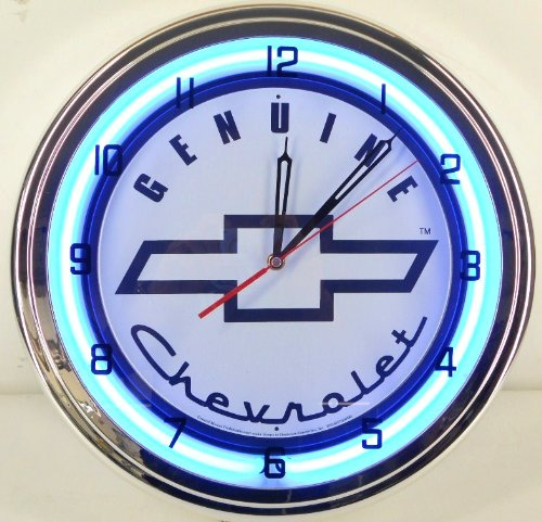 Genuine Chevy 15'' Neon Light Clock Sign Parts Garage Bowtie Emblem Logo SS White/Blue