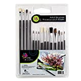 Time 4 Crafts, 15-pc Artist Brushes, 8.5 x 11.5 inches, Black