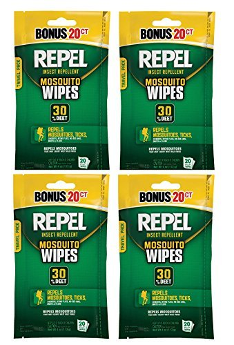Repel 94100 Sportsmen 30-Percent Deet Mosquito Repellent Wipes, 2 Packs of 20 Count - 40 Total! -