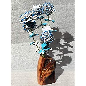 Wood flowers, Blue and red pinecone bouquet with matching leaves and manzanita base, Rose Zinnia Begonia Daisy and Chrysanthemum, Blue and red scales, Den, Cabin, Lodge 17