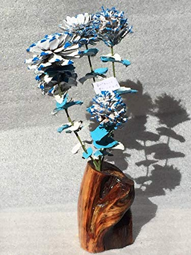 Wood flowers, Blue and red pinecone bouquet with matching leaves and manzanita base, Rose Zinnia Begonia Daisy and Chrysanthemum, Blue and red scales, Den, Cabin, Lodge ()