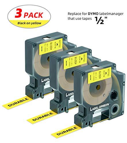 - Label Orison-D1 Labels 45018 Standard Labeling Tape Black on Yellow 1/2'' W x 23' L Compatible with Dymo LabelManager 160 280 420P 260P PnP 210D 360D 450D 500TS,3 Cartridges