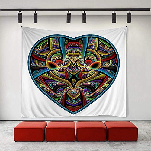 (YGYMRRI Wall Tapestry Wall Art Tie Dye Heart Tapestries Hippie Art Tapestry Wall Hanging Adults Kids' Room Decoration Wall Blanket)