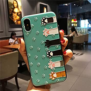 BONTOUJOUR iPhone Xs Max Cover Case Super Cute Cartoon Animal Pattern Hard PC Back Soft TPU Silicon Cover For Girls Strong Protection - green cat hand