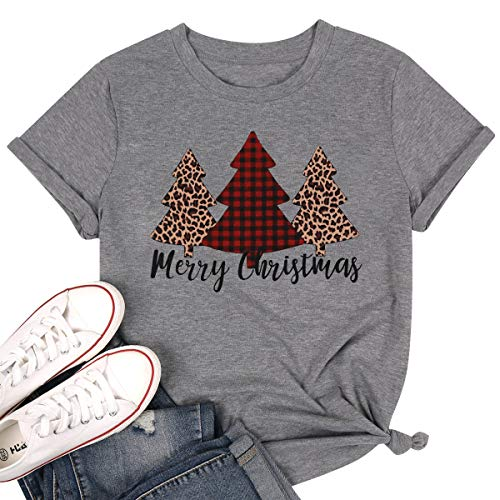 Women Merry Christmas Leopard Plaid Tree Shirt Top Short Sleeve Casual Graphic Print T Shirt Size S (Gray)