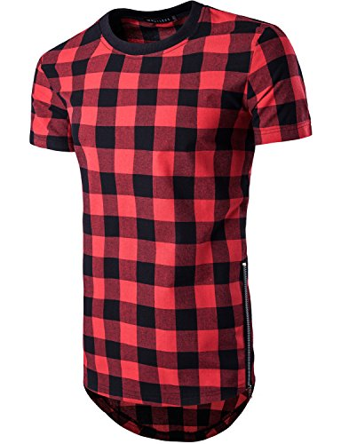 Whatlees Mens Hipster Hip Hop Checkered Short Sleeve Longline T Shirt With Side Zipper/Crew Neck Tops T39-Red - Punk Fashion Hipster