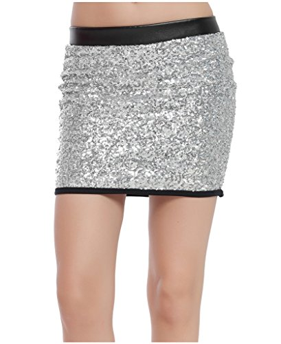 Silver Sequin Mini Skirt (Lotsyle Women's Sequins Club Party Bodycon Mini Skirt Splicing Faux Leather Silver-L)