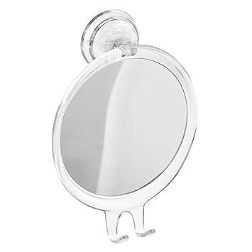 InterDesign Power Lock Suction Shaving Mirror For Shower Or Bathroom Circular With Razor Holder