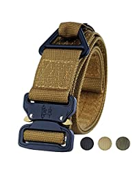Fairwin Tactical Belt CQB Rigger Waistbelt, Adjustable Military Style Webbing Outdoor Heavy Duty Metal Buckle with Triangular V-Ring (Green)