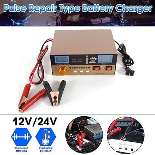 (Automatic Car Battery Charger,12V/24V Intelligent Maintainer Lead Acid Battery Charger Pulse Repair Type USA Stock)
