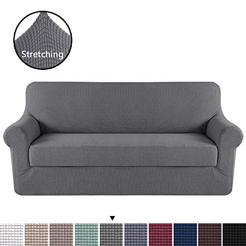 H.VERSAILTEX Modern Spandex 2 Pieces Sofa Cover Lycra Jacquard High Stretch Sofa Slipcover Stylish Furniture Cover/Protector Machine Washable - Sofa - Charcoal Gray (90 Cover Sofa)