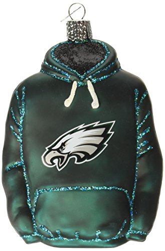 Old World Christmas Philadelphia Eagles Hoodie Glass Blown Ornament